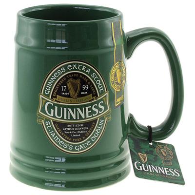 F G Bradley S Glassware Guinness Tankard Green
