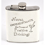 12114 - Bar Flask 7oz White Glitter ''...The Power of Positive Drinking''