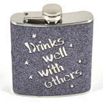 12787 - Bar Flask - 7oz Grey Glitter ''Drinks Well With Others''