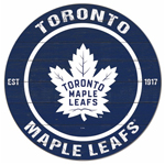 Toronto Maple Leafs Distressed 20'' Round Wood Sign