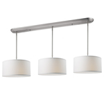 11014 - Albian Island/Billiard Lamp Brushed Nickel With White Linen Shades