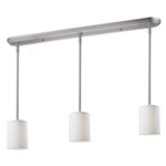 11017 - Albion Island/Billiard Lamp Brushed Nickel With White Shades