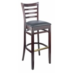 150 - Carole Wooden Bar Stool with Black Vinyl Cushion