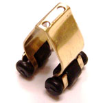 6504 - Metal Cue Rack Clip with Plastic Rollers - Brass