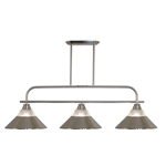 11263 - Annora Brushed Nickel Island/Billiard Lamp With Clear Ribbed Glass   Brushed Nickel Shades