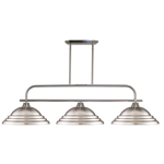 11264 - Annora Brushed Nickel Island/Billiard Lamp With Stepped Brushed Nickel Shades