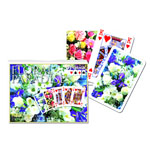 12370 - Floral Paradise - Blue Double Deck Bridge Size Playing Cards by Piatnik