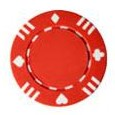 1722 - Roll of 50 13.5 Gram Single Suited Red Poker Chips