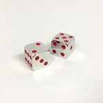 12755 - Silver and Red Dice - 15mm