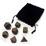 13561 - Metal Polyhedral Dice Set - Antique Brass