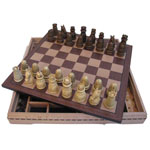 2238 - 37.5 cm Cherry Chess Board with Medieval Chess Men and Checkers