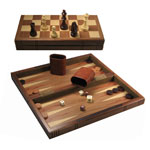 6033 - 12'' Wooden Folding Chess   Backgammon Set