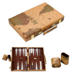 11542 - Backgammon Set - 11 Inch World Map Case
