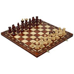 13027 - Ambassador Chess Set - Brown 21 inch