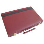 11801 - Backgammon Set Maroon With Black Stripe - 15 inch