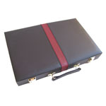 11802 - Backgammon Set Black With Maroon Stripe - 15 inch