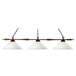 11255 - Aztec Bronze Island/Billiard Lamp With Angle Matte Opal Shades