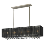 11260 - Aura Five Light Island/Billiard Lamp Finish Brushed Nickel With  Black Shades And Clear Crystals