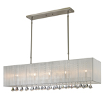 11261 - Aura Five Light Island/Billiard Lamp Finish Brushed Nickel With White Shades And Clear Crystals