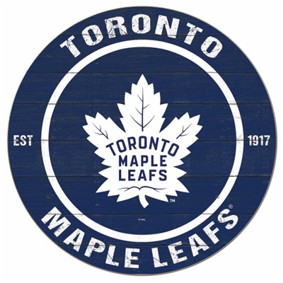 160003-Toronto Maple Leafs Distressed 20'' Round Wood Sign