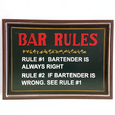 160026-Bar Rules - Wooden Bar Sign