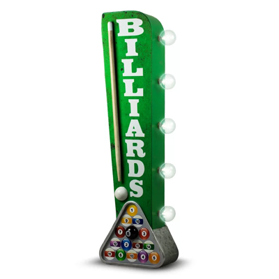 160189-Billiards Off The Wall LED Metal Sign