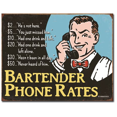 160387-Bartender Phone Rates Tin Sign