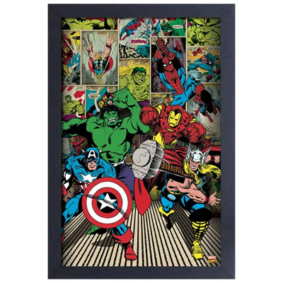 160603-Marvel Panel Collage Framed Colour Poster