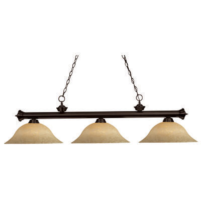 265112-Colchester Billiard / Island Light with 3 Golden Mottle Shades