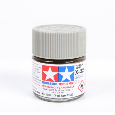 350326-Tamiya Titanium Sliver Gloss Model Paint (Acrylic Mini X-32 nr. 81532)