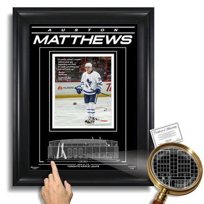 650202-Auston Matthews Toronto Maple Leafs Air Canada Centre - Archival Etched Glass