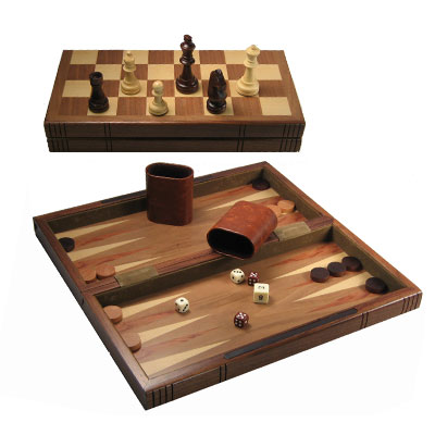 710025-12'' Wooden Folding Chess   Backgammon Set