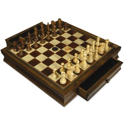 F g bradley 39 s chess checkers and backgammon sets walnut chess board with drawer and - Puzzle boards with drawers ...