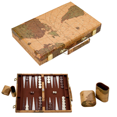710087-15 Inch Backgammon Set In Brown Vinyl Map Design Case