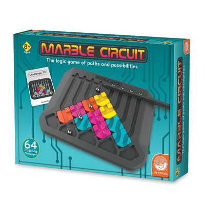 760077-Mindware Marble Circuit Logic Board Game 64 Puzzling Challenges
