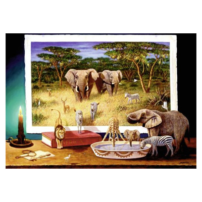 773149-Ravensburger Puzzle African Visitors at Night - 1000 Pc Puzzle