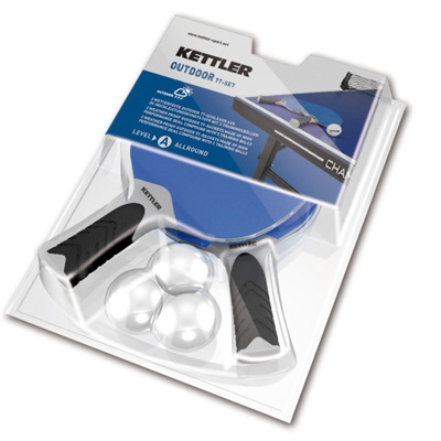 800112-Kettler Halo 2 Player Outdoor Table Tennis Racquet Set